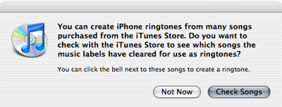 an iTunes alert dialog explaining why some songs aren't available as ringtones